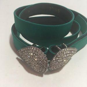 Worth   Green Rhinestone Waist Belt Medium